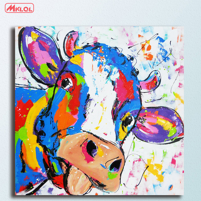 Assez Animal pop art cow Oil Painting Wall Art Picture Paiting Canvas  ON12