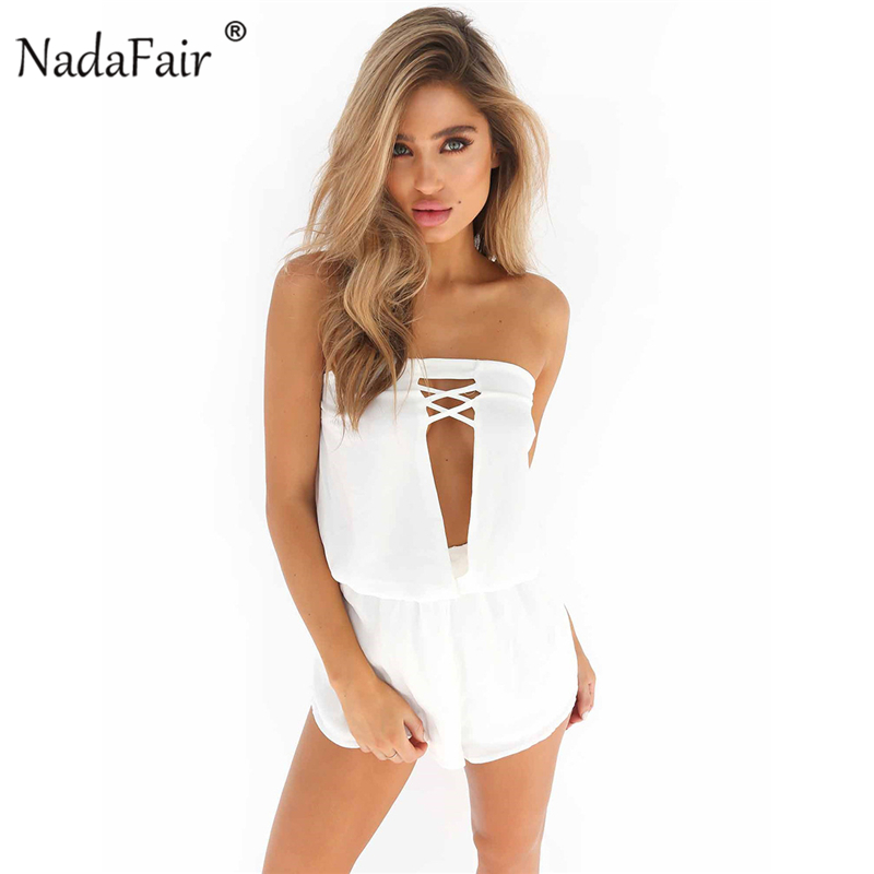 Nadafair Summer Women White Playsuit White Strapless Hollow Out Chiffon Playsuits Romper Casual Summer Beach Shorts For Female