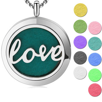Silve  Jewelry  love  Aromatherapy Essential Oil 316 Stainless Steel Perfume Diffuser Locket Necklace with chain