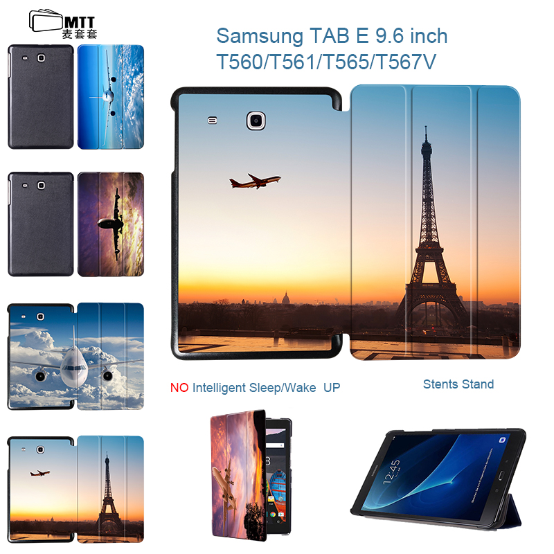 MTT Fashion Airplane Leather For Samsung Galaxy Tab E 9.6 Case Flip Smart Cover For Samsung Galaxy Tab E T560 SM-T560 T561 Cases bf luxury tablet case for samsung galaxy tab e 9 6 sm t560 sm t561 t560 t561 pu leather flip cute book stand cover protector