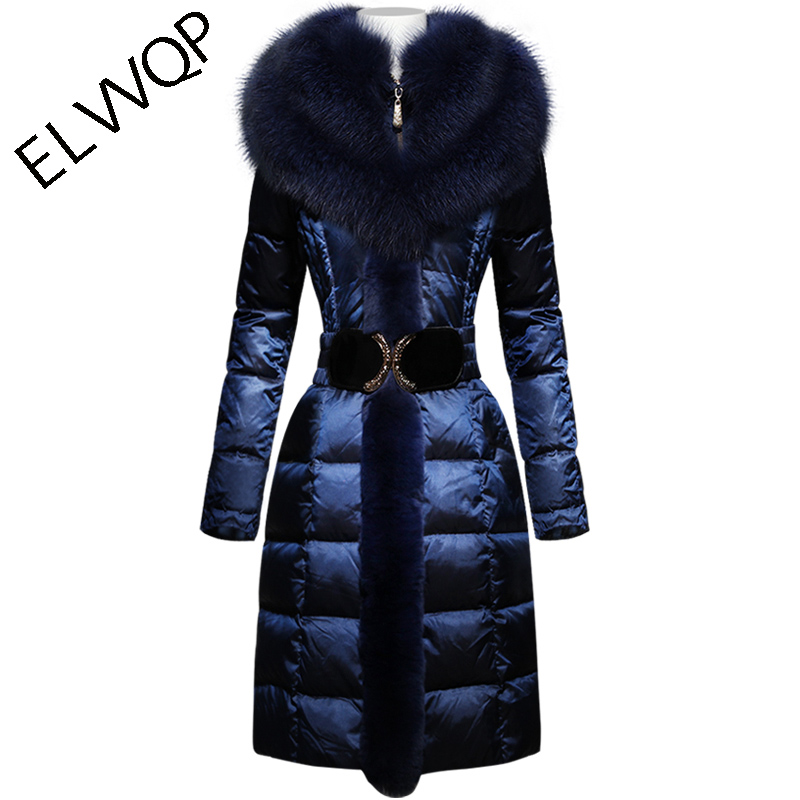 Plus size 4XL Goose   Down     coat   2018 Winter Jacket Women   Down   jackets large raccoon fur thicken long   down     coats   Outerwear Parka