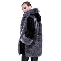 2017 faux fur coat women black gray with fur hat fur jacket mink luxury women long coat Imitation fur jacket women coat LJLS022