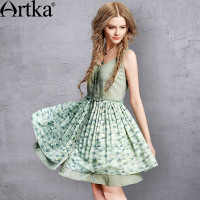 Artka Women S Summer New Printed Patchwork Double Layer Dress O Neck Sleeveless Empire Waist Comfy