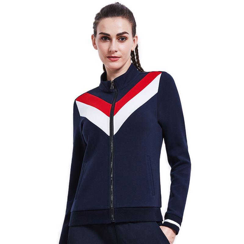 Women's Sports Jacket Cotton Polyester Stand Collar Running Tennis Coat Contrast Color Sweatshirt Outdoor Long Sleeve Jacket plus contrast striped coat