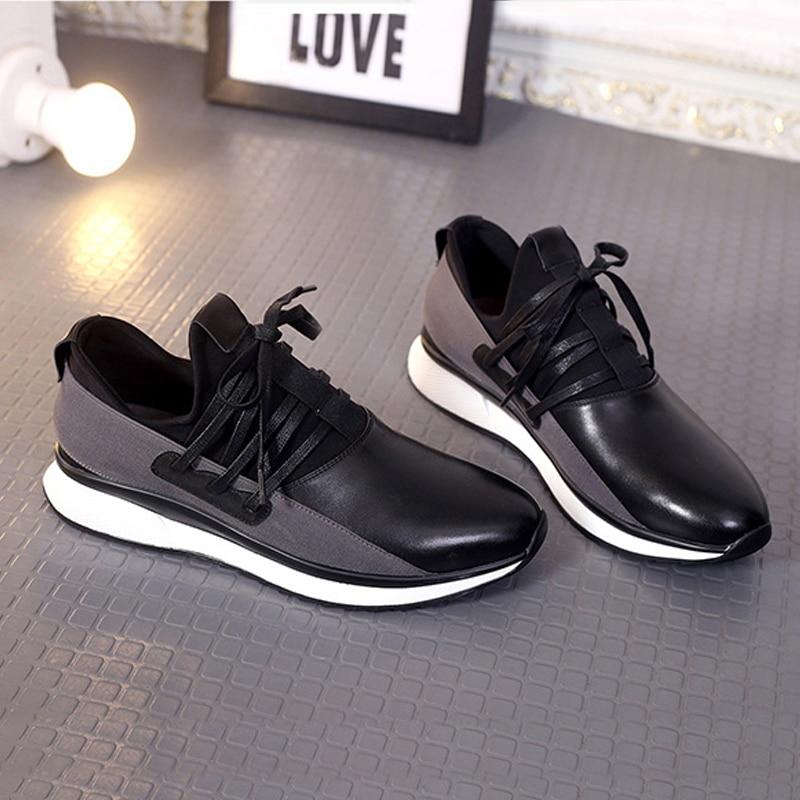 Hombres Británico Cuero 2018 Diseñador Casuales up Mycolen Encaje Negro Zapatos Zapatillas Pisos Genuino Estilo De Lace Hasta Moda YEdqU