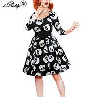 Retro Skull Print Audrey Hepburn Style Dress For Women Balck Rockabilly Robe 50s 60s Pin Up