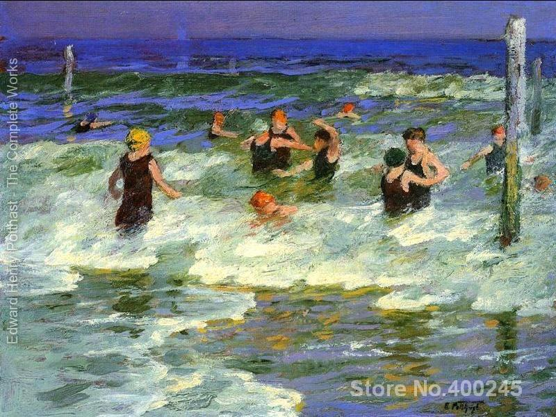 Bathing in the Surf Edward Henry Potthast painting for bedroom decoration High quality