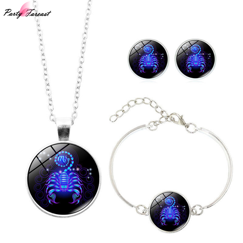 12Constellations Jewelry Sets Necklace Stud Earrings For Women Bracelets Men Statement Necklace Couple Earring Jewellry