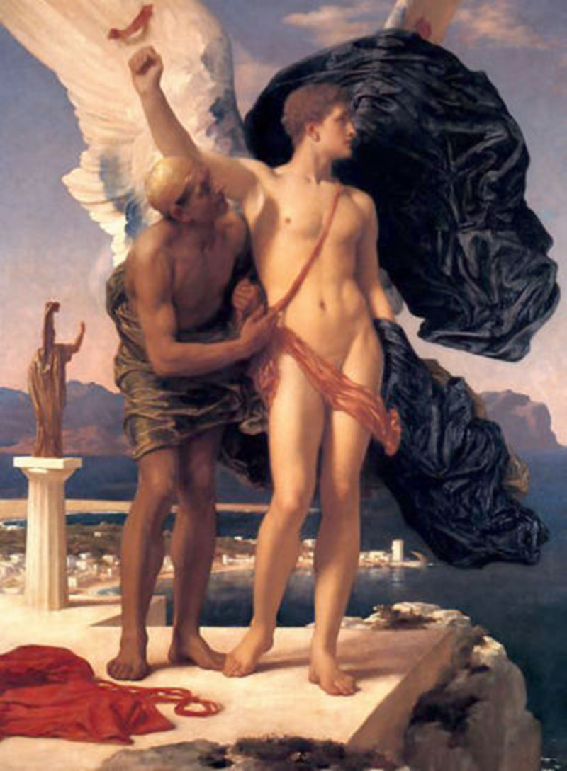 Figure Oil Painting Home Decor Wall Art Frederick Leighton Daedalus and Icarus Angel Nude Strong Man Handpainted Vertical