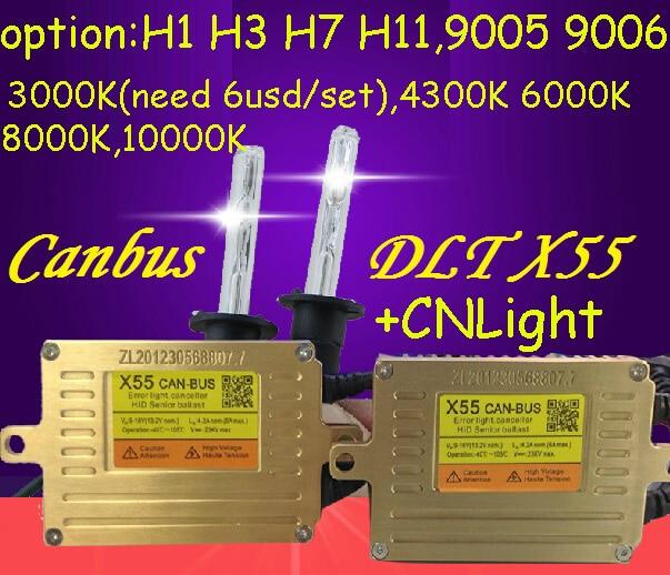ФОТО DLT X55 HID KIT,Canbus hid kit,X55,55W 12V,hid xenon kit,Free ship!2pcs X55+2pcs CN Bulb,H1 H3 H7 9005 9006,H11,4300 6000 8000K