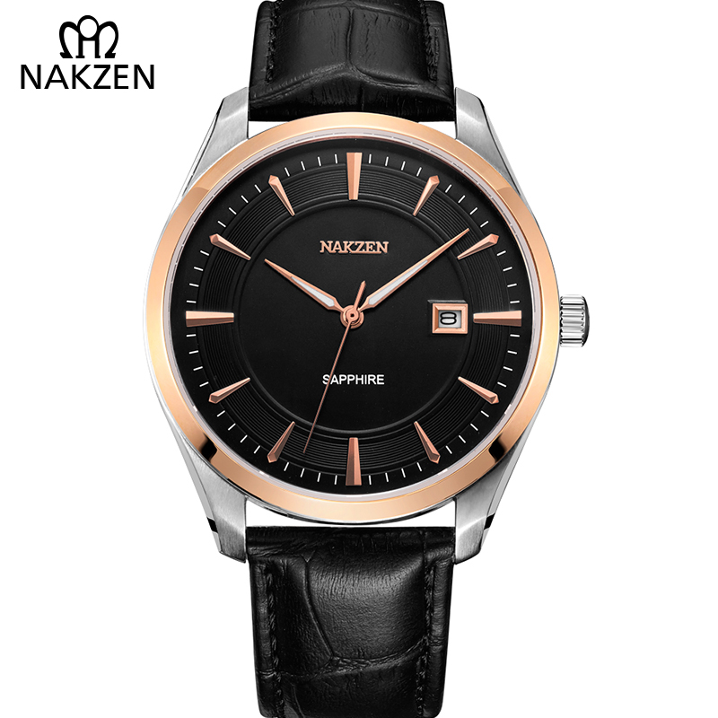 NAKZEN Quartz Men Watches Top Brand Casual Erkek Kol Saati Wristwatches Leather Watch Band For Male Clock Relogio Masculino T5
