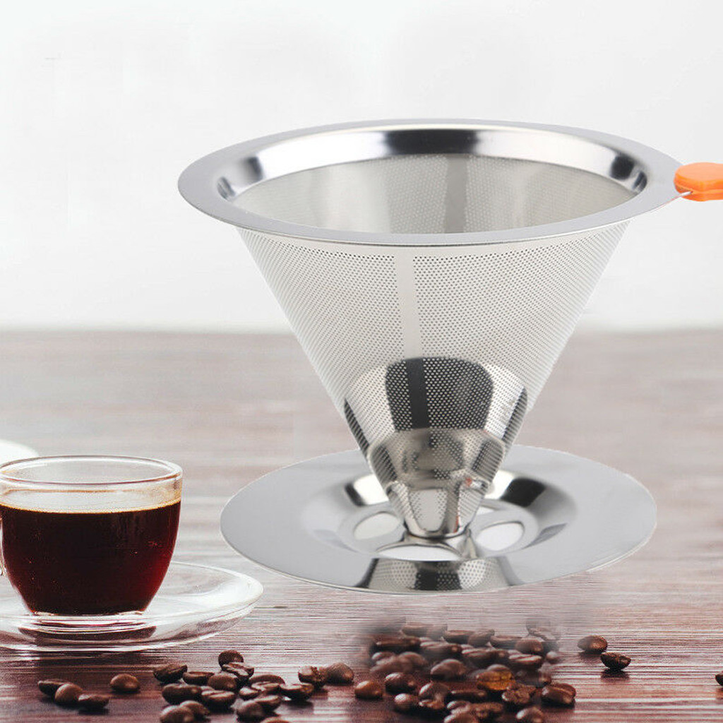 Basket:  Stainless Steel Pour Over Cone Dripper Reusable Coffee Filter with Cup Stand Coffee Tea Filter Basket Tools Kitchen Coffeeware - Martin's & Co
