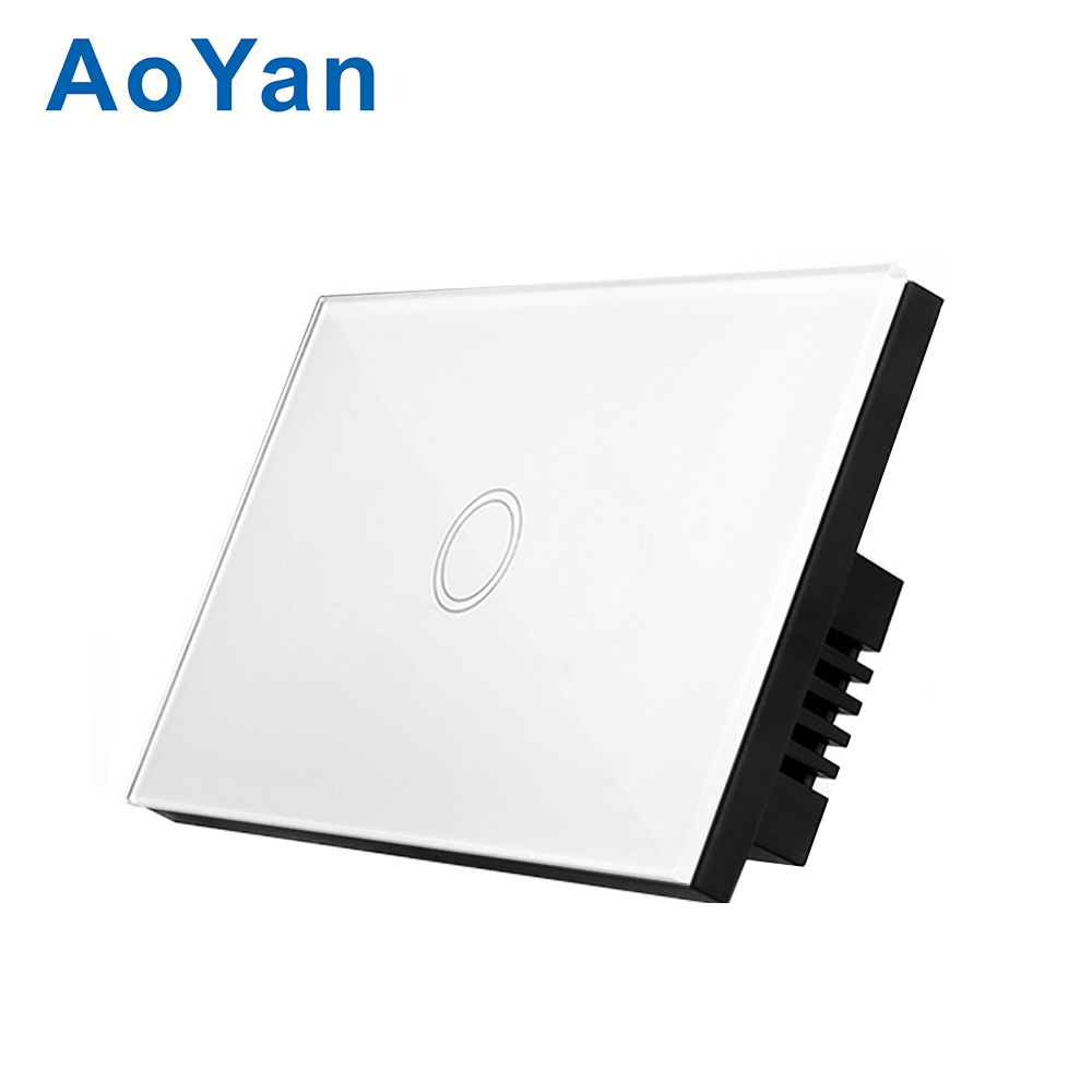 AoYan US Standard 1 Gang 1 way Touch Switch black Crystal Glass Panel D901 LED indicator Touch Screen wall switch us standard touch remote control light switch 3gang1way black pearl crystal glass wall switch with led indicator mg us01rc