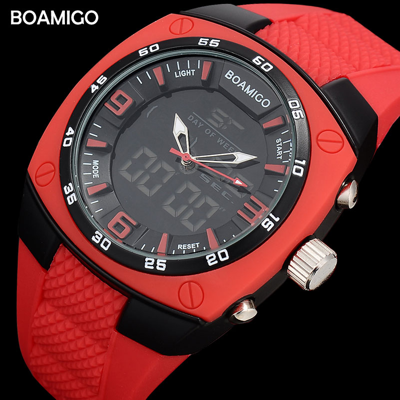 men sports watches military dual time LED digital watches BOAMIGO brand quartz watch rubber waterproof wristwatches reloj hombre