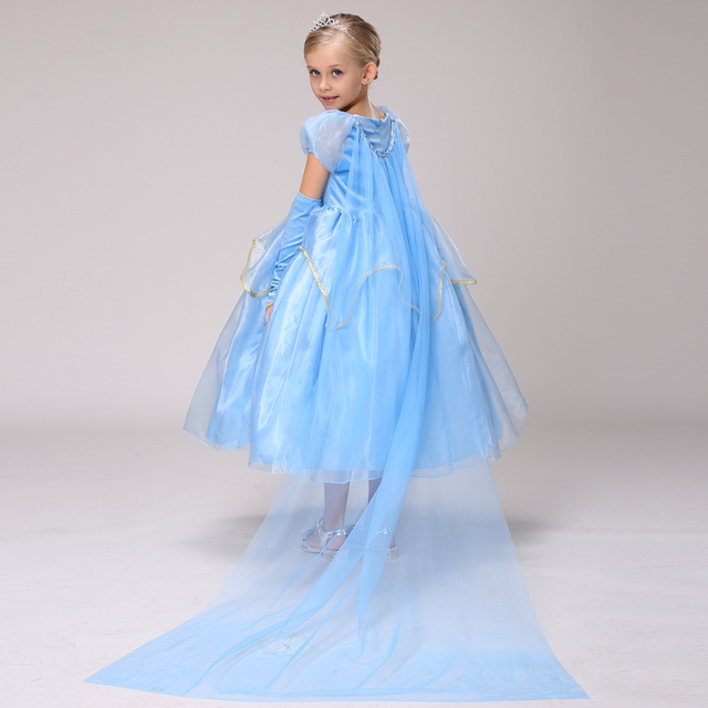 do dower fancy dress kid anna elsa costumes dresses for girl snow queen christmas toddler princess