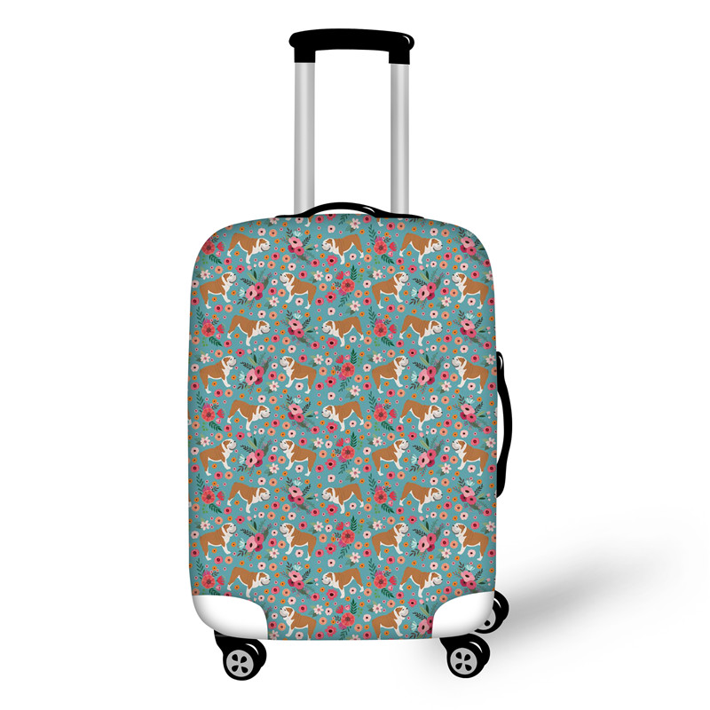 FORUDESIGNS Bulldog Floral Travel Luggage Suitcase Protective Cover For Trunk Case Apply To 18''-30'' Suitcase Cover Elastic
