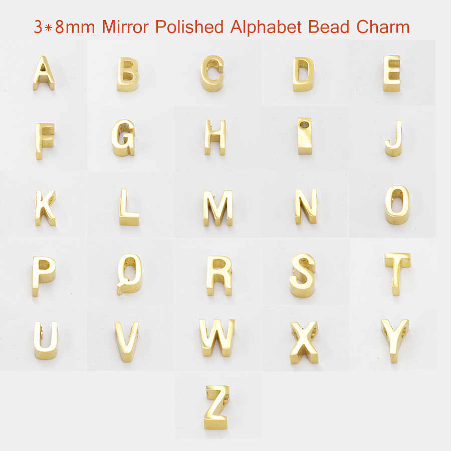 Fnixtar 1.8mm Small Hole Bead 3*8mm Stainless Steel Mirror Polished 26 Alphabet Letters A-Z Charm Bead DIY Handmade 5piece/lot