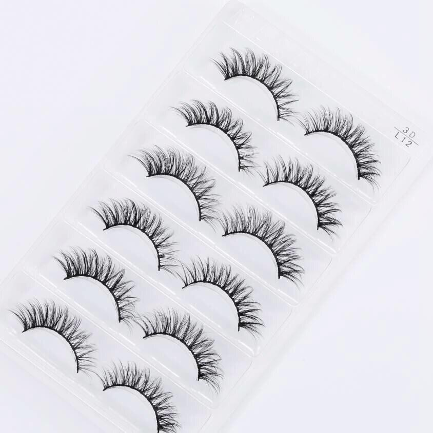 HBZGTLAD 6 Pairs Real Mink Fake Eyelashes 3D Natural False Eyelashes Mink Lashes Soft Eyelash Extension Makeup Kit Cilios