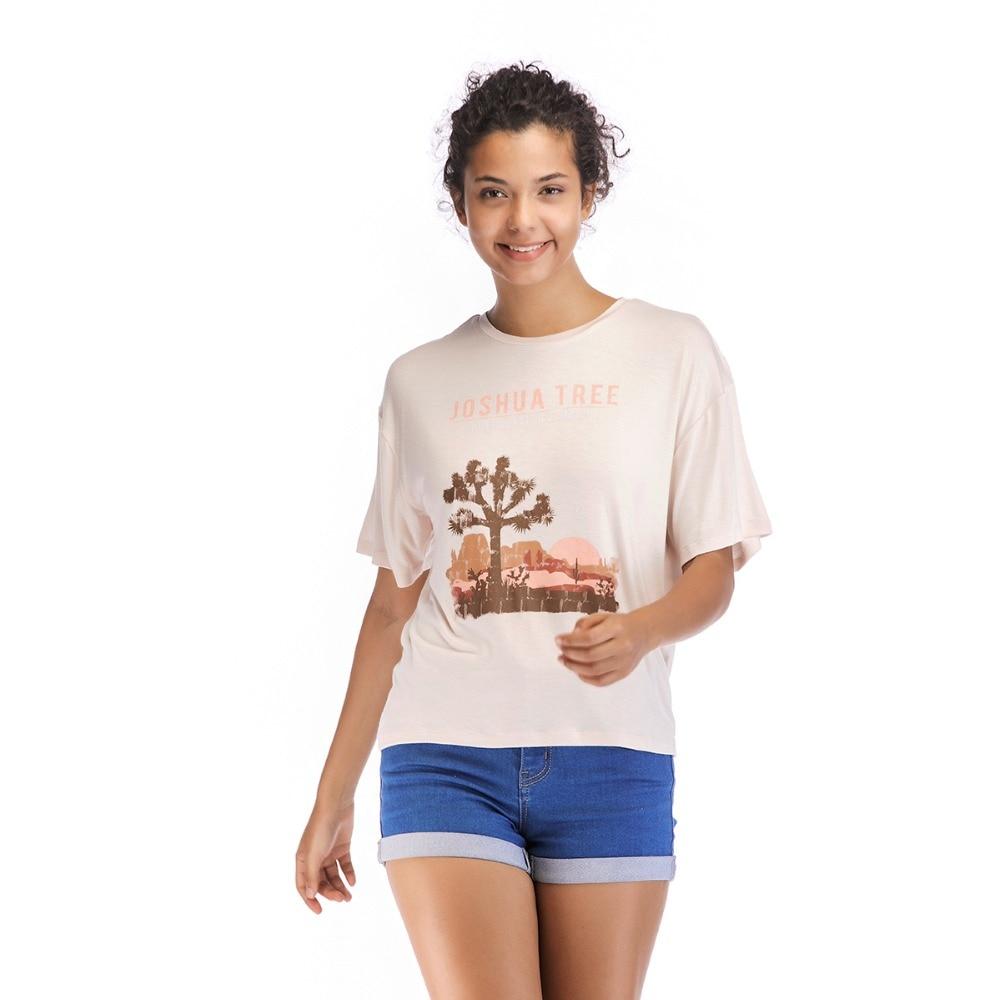 WEAVERS Summer Shirt Women T-shirt Cute Drawing Tree Letters Tee Shirt Female Short Sleeve Harajuku Tee Shirt Femme Cloth