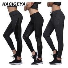 נשים ריצה מכנסיים 2017 יוגה חותלות נשים גבוהה גמישות ספורט קצוץ מכנסיים מהיר יבש כושר ריצה כושר ספורט ארוך מכנסיים