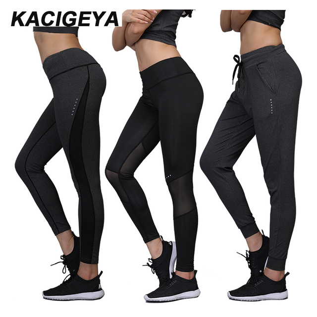 da0e5420e8 Women Running Pants 2017 Yoga Leggings Women High Elasticity Sports Cropped  Pants Quick Dry Gym Running Fitness Sports Long Pant