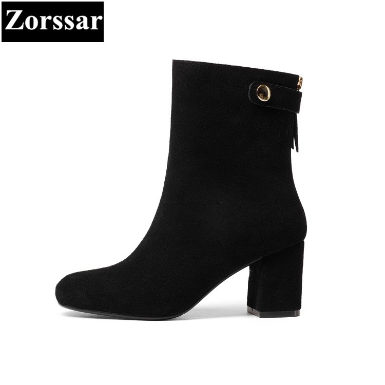 {Zorssar} 2018 new arrival fashion Women shoes Thick heel zipper ankle snow boots Round Toe High heels Suede womens boots winter zorssar brands 2018 new arrival fashion women shoes thick heel zipper ankle chelsea boots square toe high heels womens boots