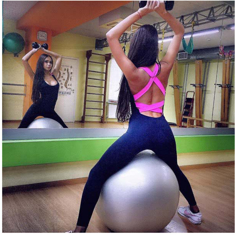 Sport Suits Women Jumpsuit Sporting Yoga Set Suits for Fitness Jogging Girl Tracksuits Cross Back Tight Sports Wear Clothing 002