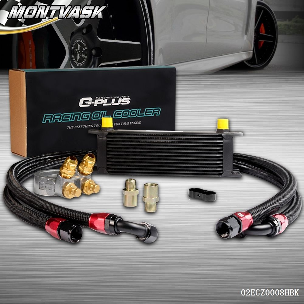 GPLUS 13 Row Thermostat Adaptor Engine Racing Oil Cooler Kit For Car/ Truck racing new oil cap engine cover fuel for mitsubishi evo