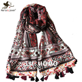 Outdoor Casual Travel Sun-Protecting Oversized Scarves Ethnic Bohemia Style Floral Print Scarf Autumn Winter Shawls and Wraps