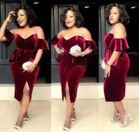 Burgundy Cocktail Dresses African Arabic Dubai Style Velvet Club Wear Graduation Homecoming Party Gowns Plus Size Custom Made
