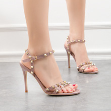 Fashion Shoes Women New Chaussure Femme Zapatos Mujer Straps Rivets Shoes Women Open Toe Pumps High Heels Ladies Shoes недорго, оригинальная цена