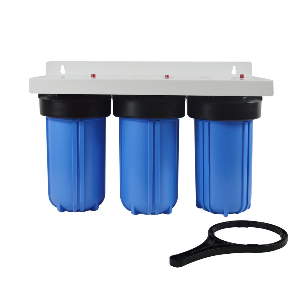 цена на Whole House 3-Stage Big Blue Water Filter System with 4.5X10 Sediment, Activated Carbon and Carbon Block Replacement Filters