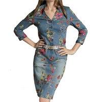Джинсовое платье 2018 женское семь четвертей рукав принт v образный вырез оборки подол тонкий деним цельное платье джинсы
