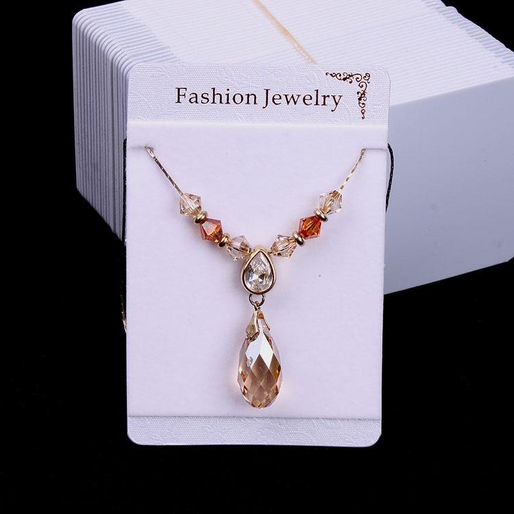 100pcs/lot Fashion Jewelry Necklace & Pendant Card 9x6cm Black PVC Velet Hang Tag Displays