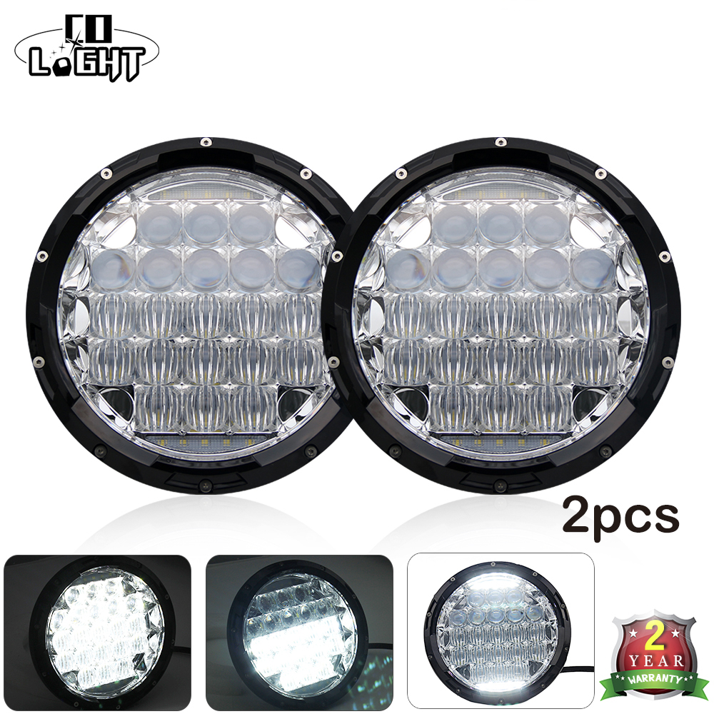 1 Pair 7 Inch Led Work Light 70W Round 35W Led Chip H4 Headlamp 5D Lens Combo Beam for 4X4 Off Road Lada Car Styling h4 7 led headlights with led car canbus led chip 80w 8000lm 6000k hi lo led driving light for off road uaz lada