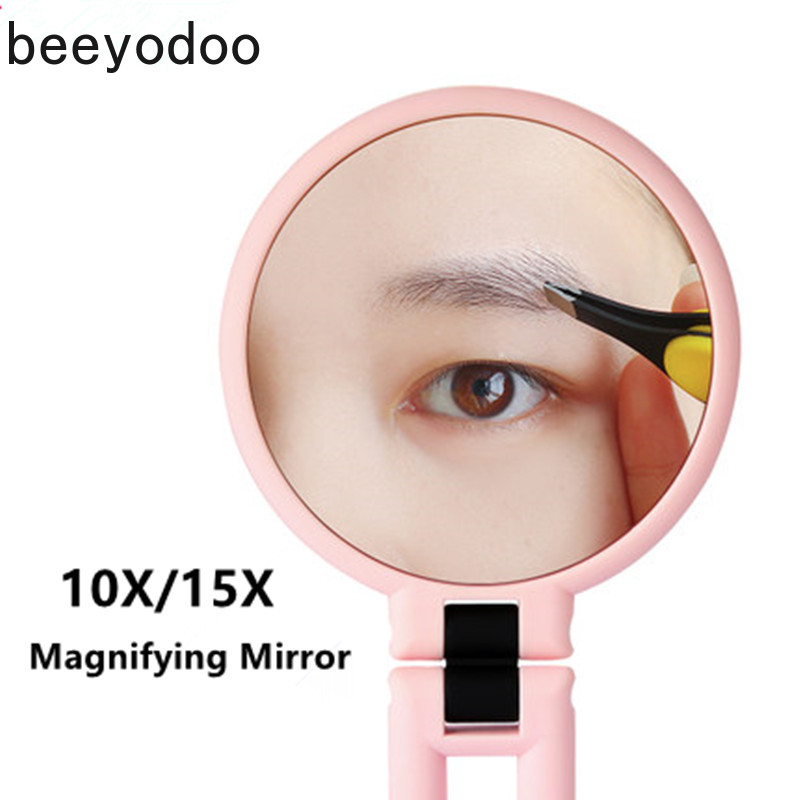 15 Times Magnifying Mirrors Double Side Makeup Mirror Table Desktop Makeup 10X 15X 360 Folding Adjustable