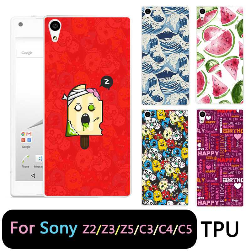 QMSWEI TPU Clear Soft Phone Case For Sony Z3 Z2 Z5 Z4 Icecream Watermelon Painted Design Cover For Sony C3 C4 C5 Free Shipping