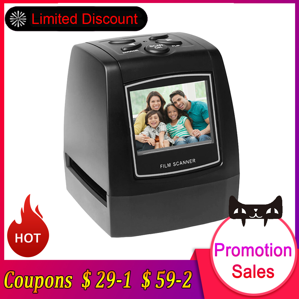 US $45 99 34% OFF|Negative Film Scanner 35mm 135mm Slide Film Converter  Photo Digital Image Viewer with 2 4