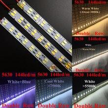 0,5 м Двухрядные 5630 (5730) светодио дный бар свет Жесткий Жесткая DC 12 В 50 см Светодиодные ленты освещение лампы 144 светодио дный/m для рекламы света