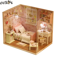 CUTEBEE DIY Doll House Miniature Dollhouse with Furnitures Wooden House Toys For Children Birthday Gift Handmade Crafts H02