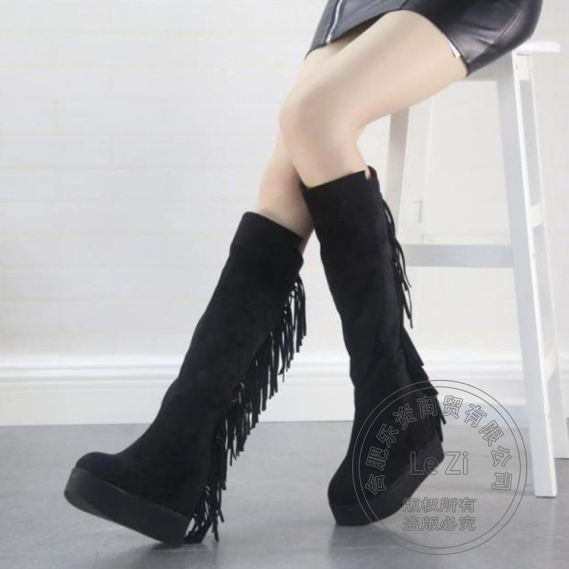 ФОТО Cheap Platform Shoes Nubuck Leather Korean Version Suede Fringe Women Boots Fashion Japanese Style Wedge Increased Within The