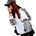 Женская Верхняя Одежда Мода 2016 Большой Размер Зебра Свободно Длинными рукавами Футболка Кофты Топы Blusa Camiseta Feminina BH445