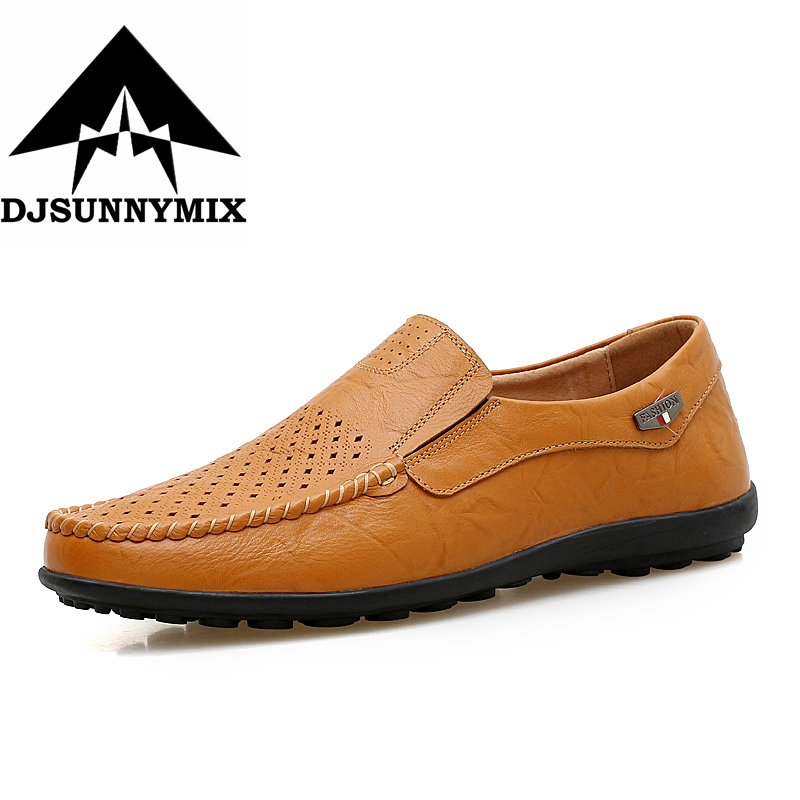 DJSUNNYMIX Men casual shoes Summer 2018 Breathable Soft Driving Men's Handmade chaussure homme Loafers Big size 38-47 genuine leather men casual shoes summer loafers breathable soft driving men s handmade chaussure homme net surface party loafers