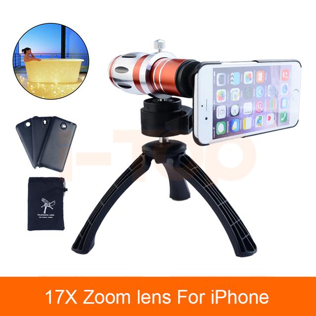 Kit de Lentes Da Câmera móvel 17x Zoom Óptico de Lentes de Telefoto Lente Do Telescópio para samsung casos de telefone iphone 5s 6 6 s 7 com tripé