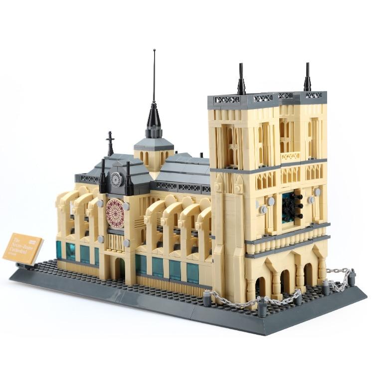 Wange World Famous Building 1380pcs Notre Dame de Paris Building Blocks Model Toys Educational brinquedos Gift for Children 5210 hugo v notre dame de paris