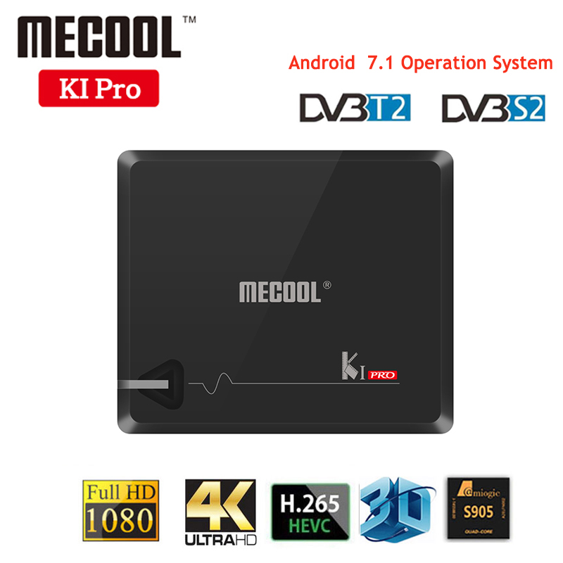 Android TV Box MECOOL KI PRO TV Box KI PRO S2+T2 DVB Amlogic S905D Quad 2G+16G Support DVB-T2&S2/DVB-T2/DVBS2 Set Top Box k1 dvb s2 android 4 4 2 amlogic s805 quad core tv box