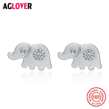 AGLOVER Womens 100% 925 Sterling Silver Jewelry Fashion Tiny Elephant Stud Earrings Gift for Girls Friend Kids Lady