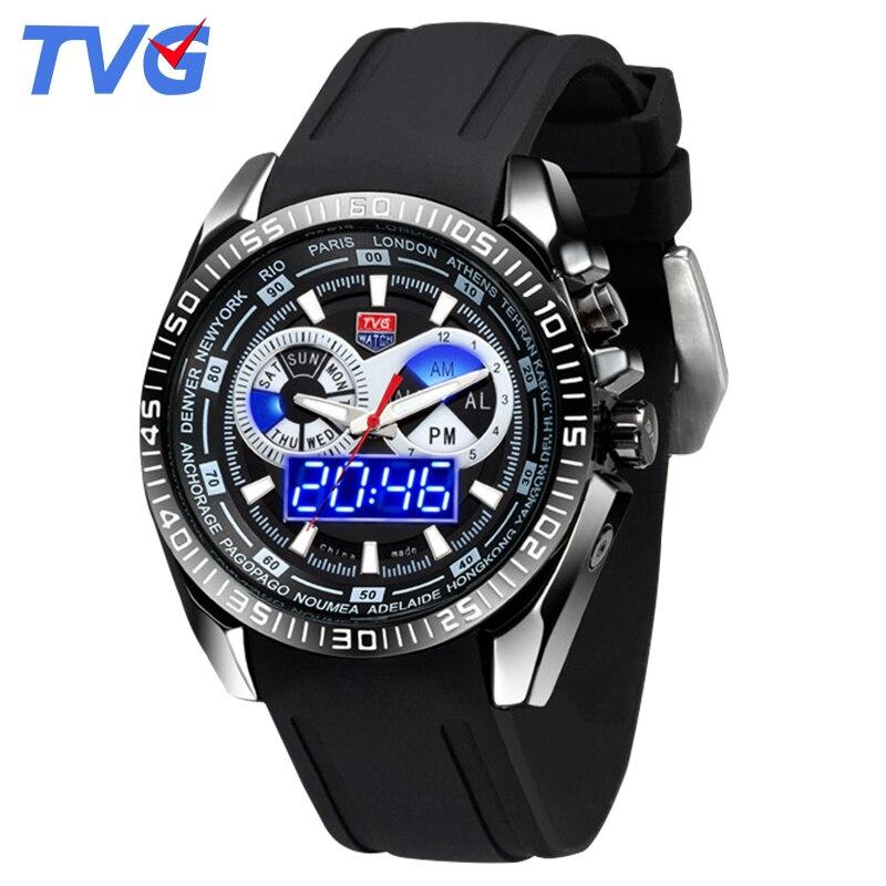 Relógios esportivos de luxo TVG 468G High-end da marca relógios homens relógio Militar Pulseira De Borracha À Prova D' Água Display LED Azul relógio de pulso