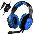 Sades A70 USB Stereo Gaming Headset Наушники Объемного Звука 7.1 глубокий Бас Наушники с Микрофоном Светящиеся СВЕТОДИОДНЫЕ Фонари для ПК геймер