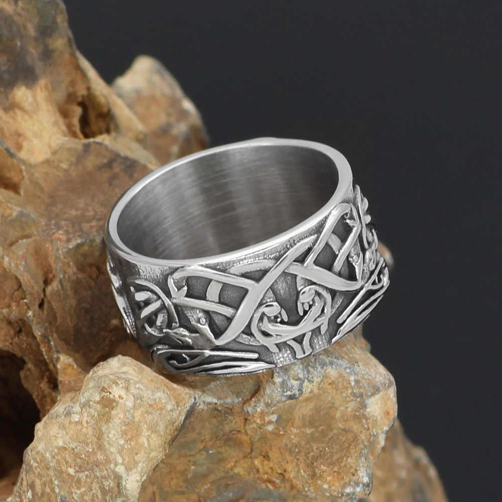 Celtycki Ornament węzeł Amulet pierścień ze stali nierdzewnej
